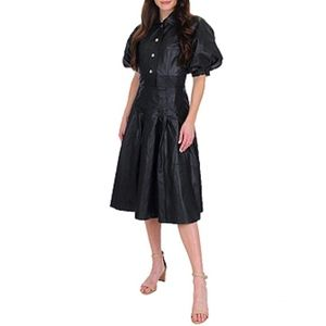 Juicy Couture Leather Puff Sleeve Shirt Dress